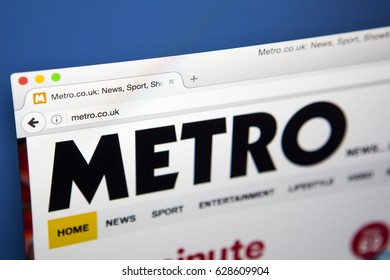 LONDON, UK - APRIL 26TH 2017: The homepage of the official website for the Metro, the local free daily newspaper printed in the UK, on 26th April 2017.