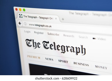 LONDON, UK - APRIL 26TH 2017: The homepage for the official website of The Daily Telegraph, also know as The Telegraph, the British daily broadsheet newspaper, on 26th April 2017.