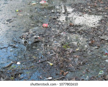 LONDON/ UK- APRIL 26th 2018: Plastics and over rubbish have become a major pollution concern on Londons waterways, rivers and canals.
