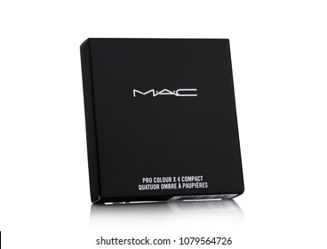 LONDON, UK - APRIL 27, 2018: MAC Cosmetics skin powder foundation container on white background. MAC Cosmetics was founded in Toronto, Ontario, Canada in 1984.