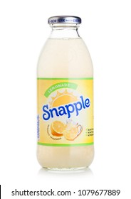 LONDON, UK - APRIL 27, 2018: Bottle of Snapple lemon juice on white background. Snapple is a product of the Dr Pepper Snapple Group based in America