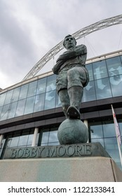 London, UK - April 27, 2018: Statue of Bobby Moore at the main entrance of the Wembley Stadium