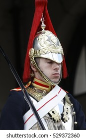 LONDON, UK - April 27,2016:Close up of Trooper of the Blues and Royals on horse at the horse guard parade. Blues and Royals is one of two most senior regiments of the British Army