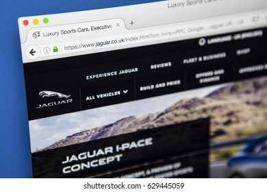 LONDON, UK - APRIL 27TH 2017: The homepage of the official website for Jaguar, the luxury vehicle brand of Jaguar Land Rover, on 27th April 2017.