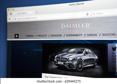 LONDON, UK - APRIL 27TH 2017: The homepage of the official website for Daimler AG, the German multinational automotive corporation, on 27th April 2017.