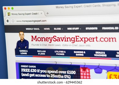 LONDON, UK - APRIL 27TH 2017: The homepage of the official website for the MoneySavingExpert, the British consumer finance information website, on 27th April 2017.