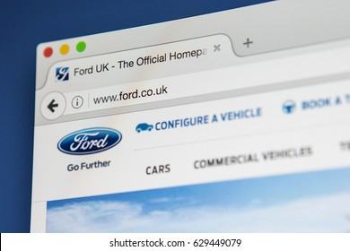 LONDON, UK - APRIL 27TH 2017: The homepage for the official website of the Ford Motor Company, on 27th April 2017.