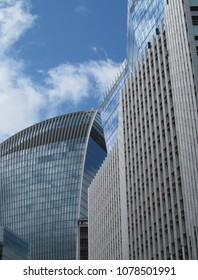 LONDON/ UK- APRIL 27th 2018: Modern city skyscrapers in Fenchurch street, London