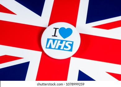 LONDON, UK - APRIL 27TH 2018: An I Love the NHS badge over the UK flag, on 27th April 2018.  The The National Health Service was established in 1948 as one of the major social reforms following WW2.