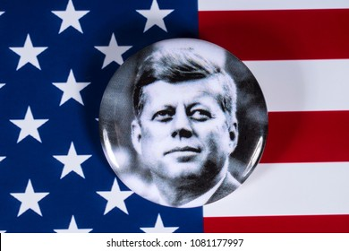 LONDON, UK - APRIL 27TH 2018: A John F. Kennedy badge pictured over the USA Flag, on 27th April 2018.  John F Kennedy was the 35th President of the United States of America.