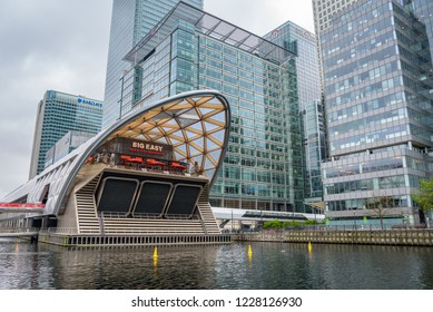 London, UK - April 28, 2018: Crossrail Place is the structure within Canary Wharf station which has shops and a cinema, as well as a roof garden, which is open to the public.
