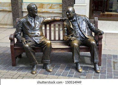 LONDON, UK � APRIL 28TH 2013: Statues of allies Franklin D. Roosevelt and Winston Churchill 'talking' to each other in London's Mayfair.