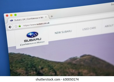 LONDON, UK - APRIL 28TH 2017: The homepage of the official website for Subaru, the automobile manufacturing division of the Subaru Corporation, on 28th April 2017.