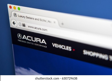 LONDON, UK - APRIL 28TH 2017: The homepage of the official website for Acura, the luxury vehicle brand of Japanese automaker Honda, on 28th April 2017.