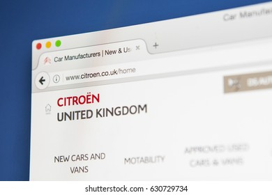 LONDON, UK - APRIL 28TH 2017: The homepage of the official website for Citroen, the French automobile maufacturer, on 28th April 2017.