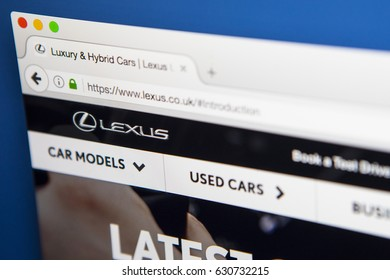 LONDON, UK - APRIL 28TH 2017: The homepage of the official website for Lexus, the the luxury vehicle division of Japanese car manufacturer Toyota, on 28th April 2017.