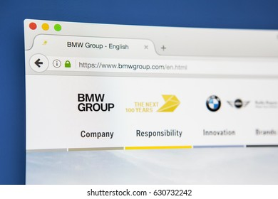 LONDON, UK - APRIL 28TH 2017: The homepage of the official website for the BMW Group, the German luxury vehicle manufacturer, on 28th April 2017.