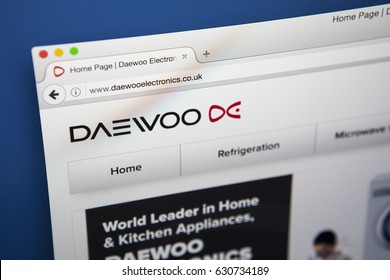 LONDON, UK - APRIL 28TH 2017: The homepage of the official website for Daewoo, the home electronics company, on 28th April 2017.