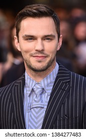 "LONDON, UK. April 29, 2019: Nicholas Hoult arriving for the ""TOLKIEN"" premiere at the Curzon Mayfair, London.