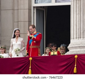 LONDON, UK - APRIL 29: Prince William and Kate Middleton greet the crowd after their wedding, April 29, 2011 in London, United Kingdom