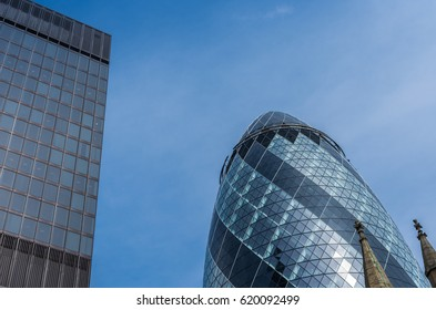 London, UK - April 3, 2016: The Gherkin skyscraper at 30 st Mary axe in the City of London on a sunny day
