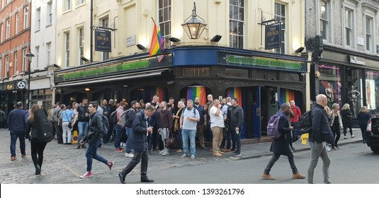 London, UK - April 30, 2019 : Happy hour, A Gay bar in London