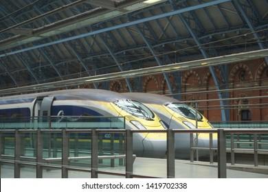 London / UK - April 30 2019: Eurostar trains at platform in St Pancras International Station, London, UK