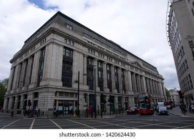 London / UK - April 30 2019: Low Angle Exterior of Victoria House, Southampton Row, Holborn, London