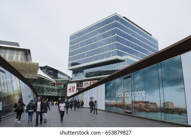 LONDON, UK- APRIL 4: View of Westfield Stratford City Europe's largest urban shopping and leisure destination, with over 65 restaurants and over 250 shops. April 30, 2017 in London UK.