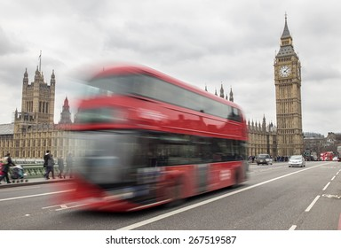 London, UK - April 4:London Bus passing Big Ben on westminster Bridge