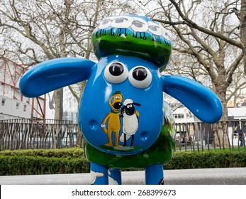 London, UK - April 5: One of Aardman's Shaun the Sheep characters on display around the centre of London