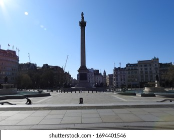 London / UK - April 5th 2020: London's Trafalgar Square and Nelson's Column, a popular tourist destination is nearly empty as people are told to self isolate during the COVID-19 coronavirus pandemic