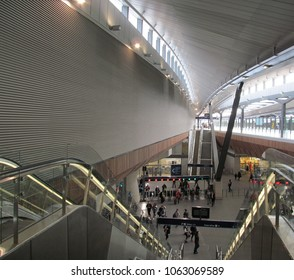 LONDON/ UK- APRIL 6, 2018: The entrance and ticket hall, of the new modern, London bridge station.