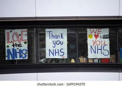 London, UK - April 6,2020. Paintings by chidden in support of the NHS. PM Boris Johnson was admitted to St Thomas' Hospital undergoing tests following testing positive for coronavirus for 10 days.