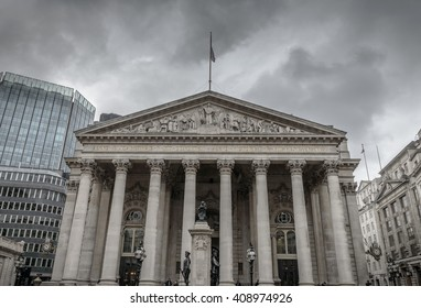 London, UK, April 7, 2016: The Royal Exchange in the heart of London