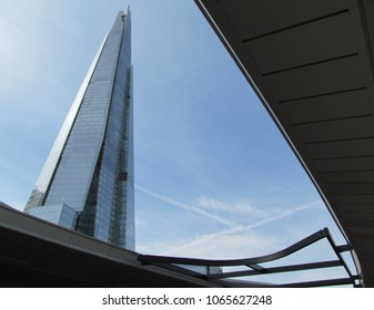 LONDON/ UK- APRIL 7, 2018: The shard tower, the tallest building in the UK. Photo taken from London bridge station.