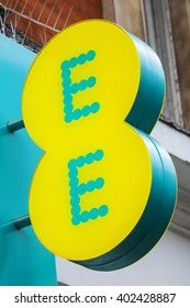 LONDON, UK - APRIL 7TH 2016: The logo on the exterior of an EE retail store on Oxford Street in London, on 7th April 2016.