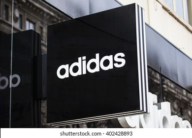 LONDON, UK - APRIL 7TH 2016: A sign for an Adidas retail store on Oxford Street in London, on 7th April 2016.