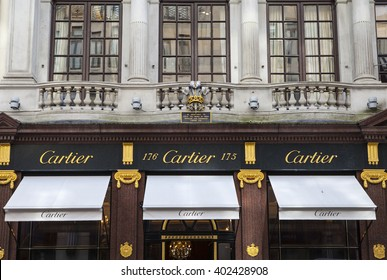 LONDON, UK - APRIL 7TH 2016: The exterior of the Cartier store on New Bond Street in Mayfair, London on 7th April 2016.