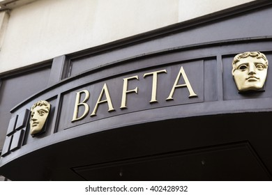 LONDON, UK - APRIL 7TH 2016: The sign of the British Academy of Film and Television Arts headquarters at 195 Piccadilly in London, on 7th April 2016.