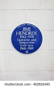 LONDON, UK - APRIL 7TH 2016: A blue plaque marking the location where iconic guitarist Jimi Hendrix once lived in central London, on 7th April 2016.