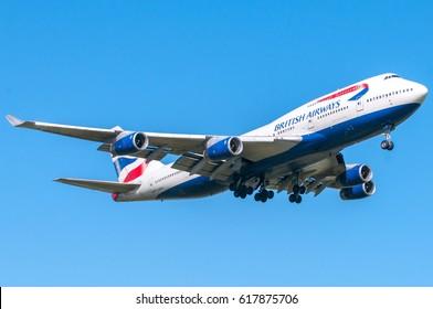 "London, UK, April 9 2011: 4-engines Boeing 747 ""queen of sky"" of British Airways carrier landing at Heathrow airport."