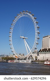 London, UK, April, 9, 2017 : The London Eye on the South Bank of The River Thames which are popular visitor attractions
