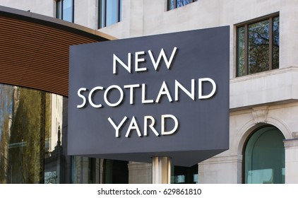 LONDON, UK - April 9, 2017: Sign outside the headquarters of London's Metropolitan Police in New Scotland Yard, Westminster. The Commissioner and other senior officers are based here.