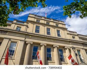 LONDON UK - AUG 1: Facade of Canada House in Trafalgar Square on August 1, 2017 in London. England. Canada House is the Canadian Embassy to the United Kingdom.