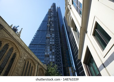 LONDON, UK - AUG 1: Leadenhall Building in construction on August 1, 2013, in London, UK. Roger Stirk Harbour + Partners (Richard Rogers) designed building (the Cheesegrater) completion due mid 2014.
