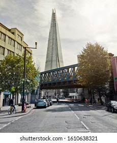 London, UK: Aug 2014: A back street view of the Shard building in London