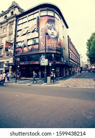 London, UK; Aug 2014: London street scene with Les Miserables theater in the West End