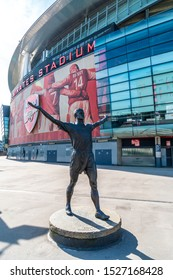 LONDON, UK - AUG 31, 2019 : Tony Adams bronze statue outside the North Bank End of the Emirates Stadium, North London, home of English Premier League team Arsenal Football Club.