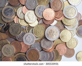 Pile Euro Coins That Circulate On Stock Photo (Edit Now